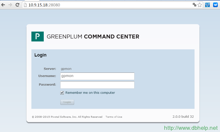 Greenplum Command Center登录页面